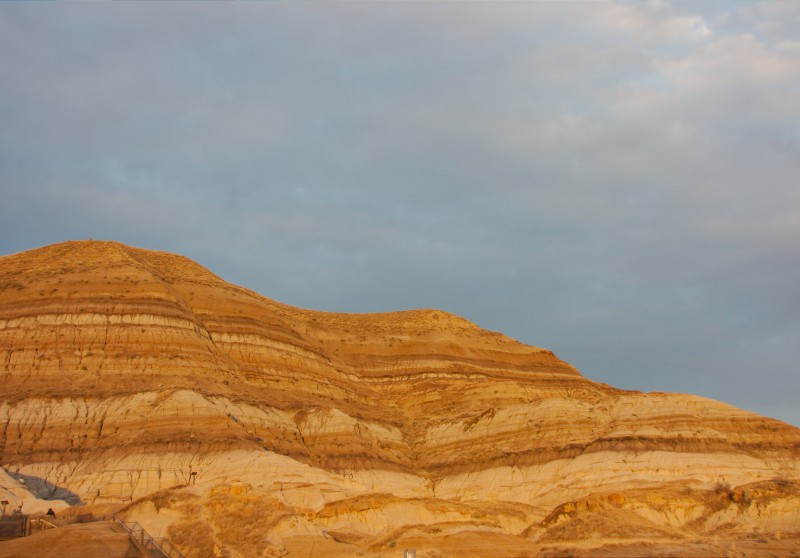 the sedimentary beds in the sunset